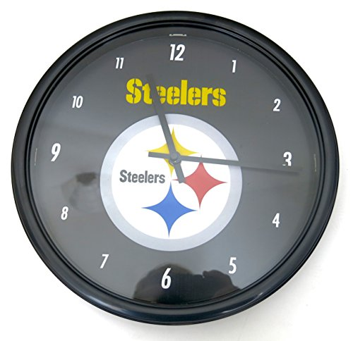 Pittsburgh Steelers Wall Clock. Ideal 12'' Dia Size for home and office decor at Steeler Mania