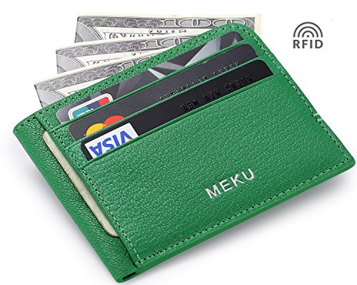 MEKU RFID Blocking Slim Leather Minimalist Money Clip Front Pocket Wallet Credit Card Holder Green (Upgraded Version)