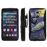 Motorola Droid Turbo XT1254 Phone Cover, Tardis Starry Night- Blitz Hybrid Armor Phone Case for [Motorola Droid Turbo XT1254] with [Kickstand and Holster] by Mobiflare