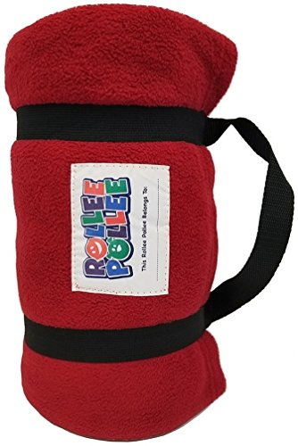 ROLLEE POLLEE Preschool and Daycare Roll Up Napping Blanket with Attached Pillow, Super Soft with Elastic Straps for Securing onto Standard Mats and Cots (Red)