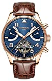 Men's Aviator Series Automatic Self Wind Mechanical Watch Luminous Steel Case Calfskin Band Analog Watch (Brown Band-Rose Gold Bezel-Blue Dial)