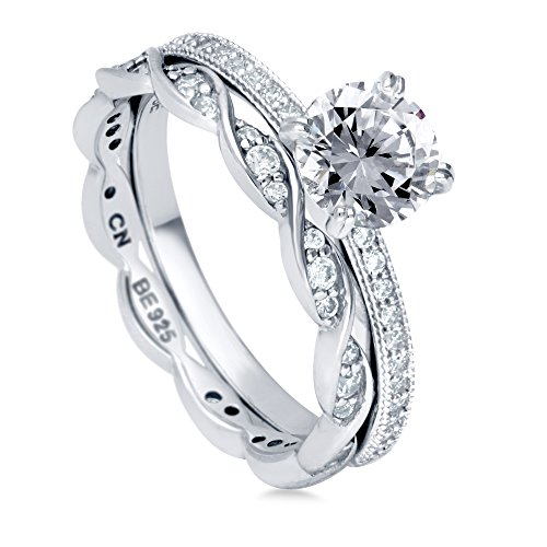 BERRICLE Rhodium Plated Sterling Silver Round Cubic Zirconia CZ Solitaire Engagement Wedding Ring Set 1.39 CTW Size 7