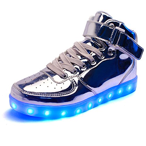 Annabelz Led Shoes High Top Light Up Shoes Bling Lampeggiante Luminoso Uomo Donna Moda Sneakers Scarpe Sportive Argento