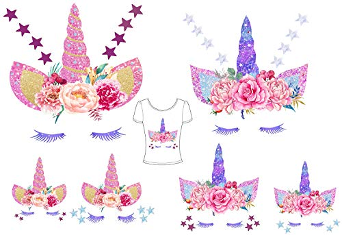 Unicorn Iron-On Heat Transfer Unicorn Iron On Glitter Star Iron Patches Flowers Patch 6Pcs Colorful Unicorn DIY Vinyl Patches Decorate T Shirts, Jeans, Clothes.