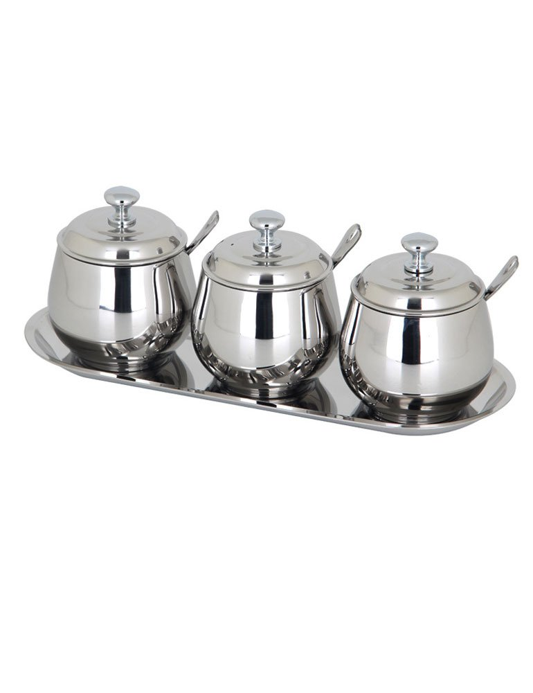 iecool Thickened Drum-shaped Stainless Steel Metal Sauce Tank Silver Set