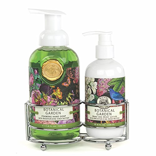 (Michel Design Works Foaming Hand Soap and Lotion Caddy Gift Set, Botanical Garden)
