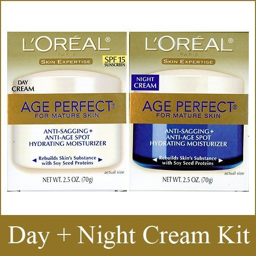 L'Oreal Paris Skin Expertise Age Perfect for Mature Skin, Day Cream SPF 15 + Night Cream, 2.5 Ounce Each (Best Retinol Cream For Mature Skin)