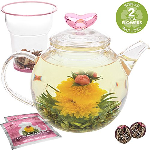 Teabloom Eternal Love Flowering Teapot - 36 oz. Glass Teapot, Heart-Topped Lid, Glass Loose Leaf Tea Infuser & 2 Blooming Teas - Thermal Shock Resistant - Stovetop, Microwave Safe