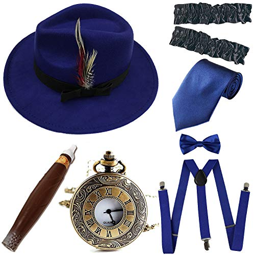 (1920s Trilby Manhattan Fedora Hat, Plastic Cigar/Gangster Armbands/Vintage Pocket Watch,Royal Blue)