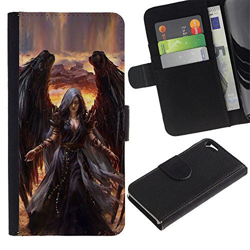 A-type (Death Drawing Black Wings Witch) Colorful Printing Holster Leather Wallet Case Pouch Skin Case Cover With Slots&pocket For Apple iPhone 5 / iPhone 5S Htc Wing Solid Case