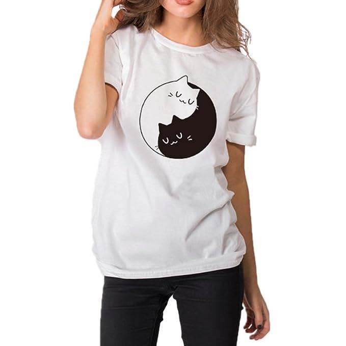 SLYlive Camiseta - Gato - Clásico - Manga Corta - para Mujer: Amazon.es: Ropa y accesorios