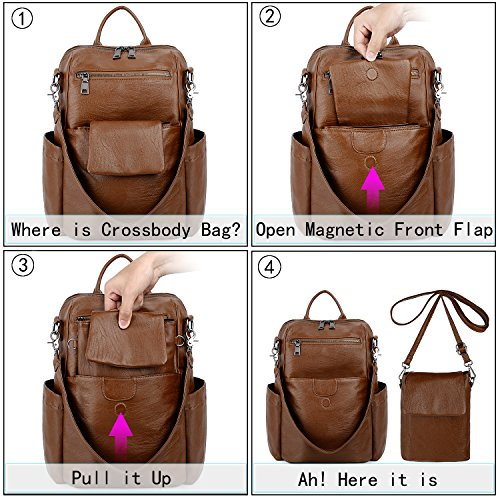 UTO Women Backpack Purse PU Washed Leather Ladies Rucksack Detachable Crossbody Shoulder Bag B Brown by UTO (Image #1)