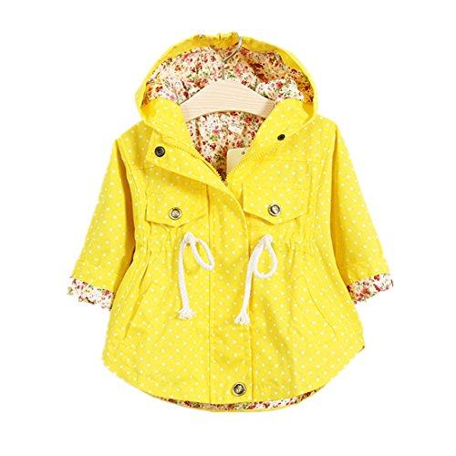 Polka Baby Jacket Dot - WINZIK Little Baby Girls Kids Outfits Spring Autumn Polka Dot Pattern Hooded Windbreaker Jacket Casual Outerwear Coat (2-3 Years/M, Yellow)
