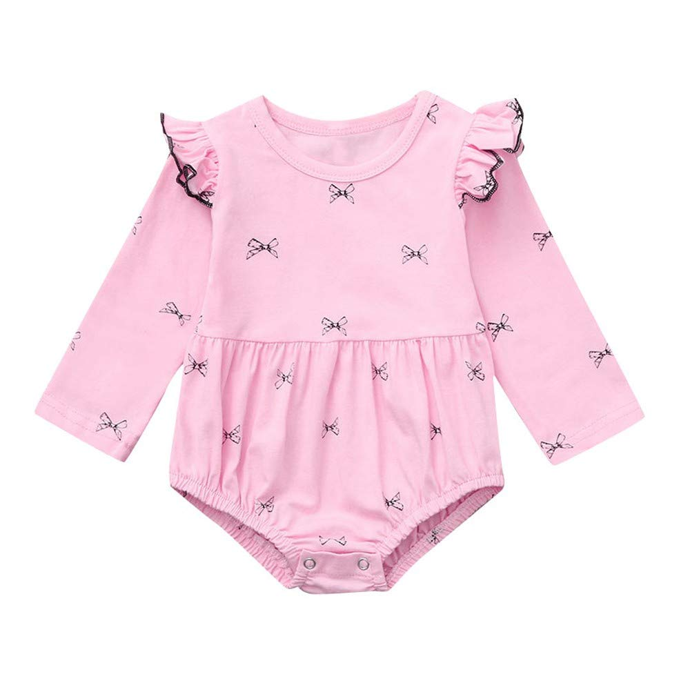 NUWFOR Newborn Infants Baby Girl Bowknot Print Solid Ruched Romper Bodysuit Outfits(Pink,3-6Months