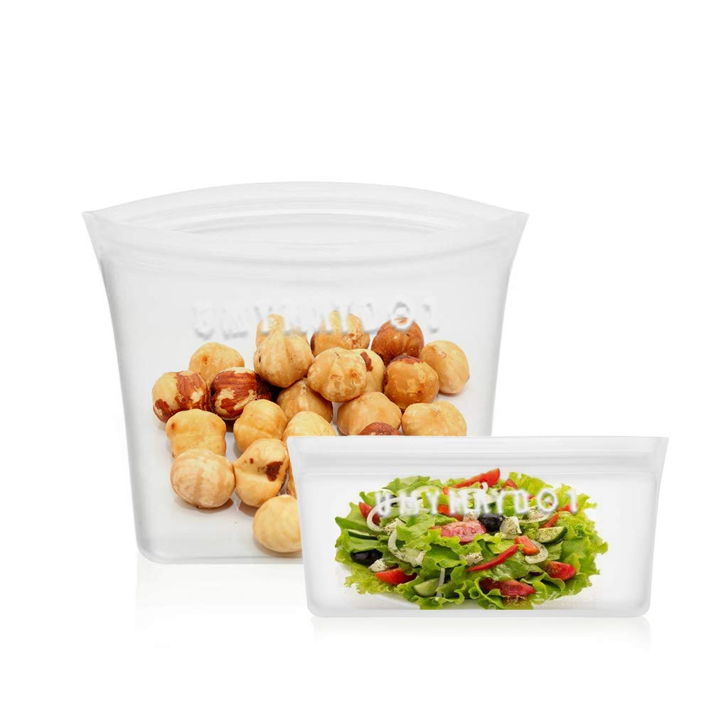 UMYMAYDO1 Reusable Silicone Food Storage Bags, Eco-Friendly Airtight Ziplock Top Food Storage Containers, Versatile Preservation Freezer Leakproof Lunch Bags, BPA Free (Transparent, Bags 2 Pack)