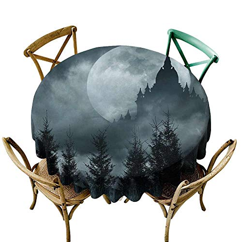 (Zmstroy Washable Table Cloth Halloween Magic Castle Silhouette Over Full Moon Night Fantasy Landscape Scary Forest Waterproof/Oil-Proof/Spill-Proof Tabletop Protector D67 Grey Pale)