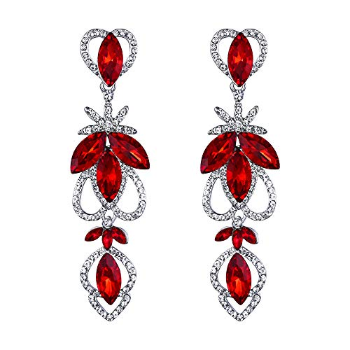 BriLove Women's Bohemian Boho Crystal Marquise Hollow Heart Shape Art Deco Chandelier Dangle Earrings Ruby Color Silver-Tone