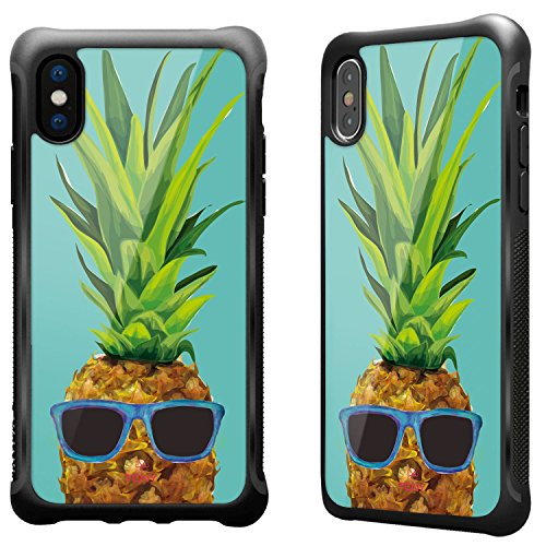 (True Color Case Compatible with iPhone X Pineapple Case, Tropical Pineapple with Sunglasses Inner Printed Impact Resistant TPU Protective Anti-Slip Grip Snap-On Soft Rugged Shockproof Bumper Cover)