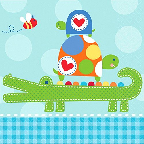 Amscan Adorable Ahoy Baby Boy Luncheon Party Napkins, 5 x 5