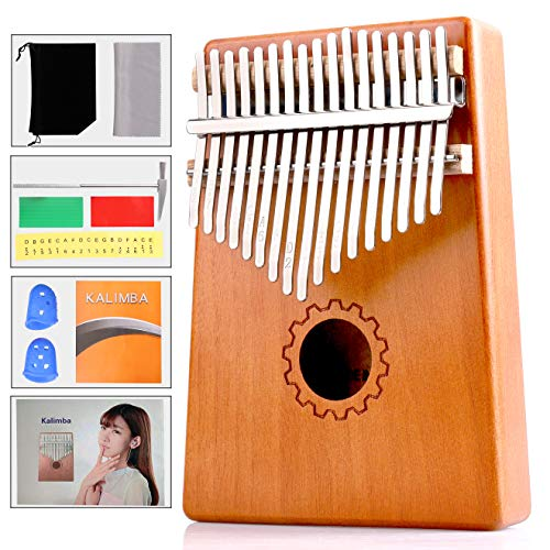 Kalimba 17 Keys,Thumb Piano with Study Instruction and Tune Hammer,Solid Mahogany Wood Portable Finger Piano African Wood Mbira Sanza Musical Instrument Gifts for Kids Adult Beginners Professionals