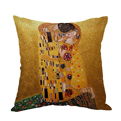 Moslion Gustav Klimts The Kiss Pillow,Home Decor Throw Pillow Cover Cotton Linen Cushion for Couch/Sofa/Bedroom/Livingroom/Kitchen/Car 18 x 18 inch Square Pillow case
