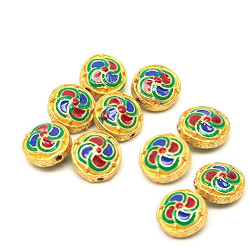 Beautiful Bead 10 pcs Windmill Pattern Enamel Cloisonne Jewelry Findings for Bracelets and Necklaces Gold, Red and Yellow