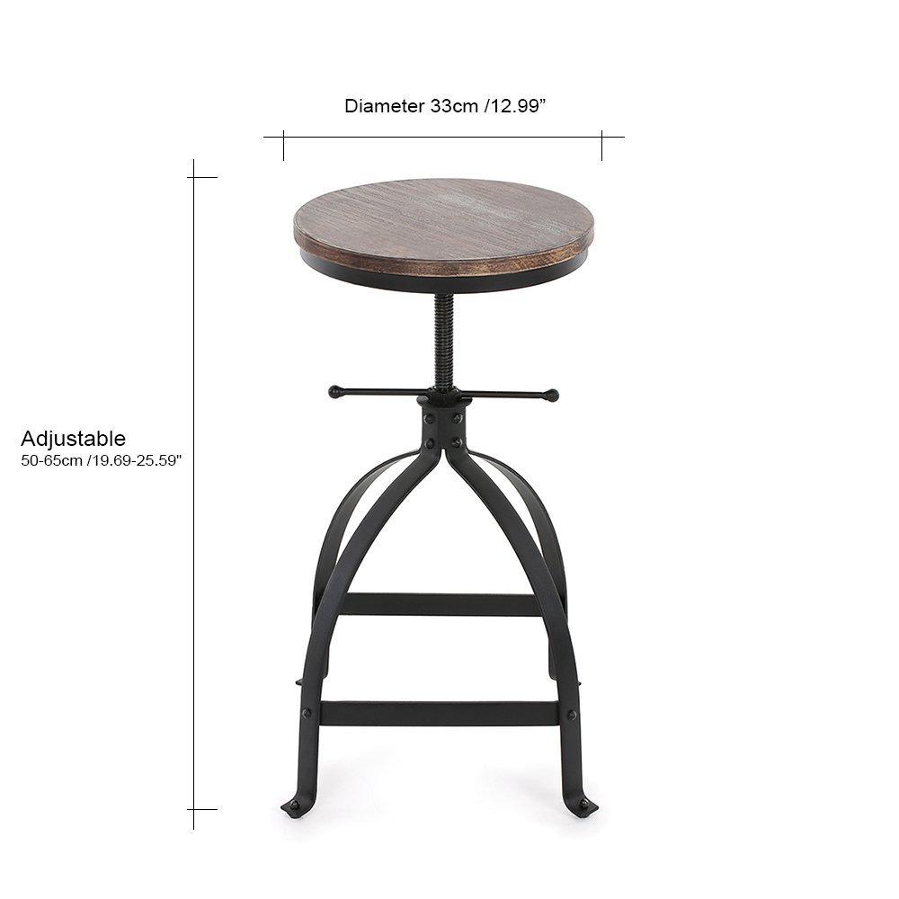 IKAYAA Kitchen Stool Dining Stool Bar Stool Chair Round Industrial Style  Adjustable Height Swivel Natural Pinewood U0026 Steel: Amazon.co.uk: Kitchen U0026  Home