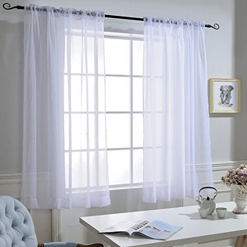 - NICETOWN White Sheer Window Curtains - High Thread Modern Crushed Voile Draperies/Drapes with Rod Pocket for Bedroom (Set of 2, 52 inch Wide x 63 inch Long)
