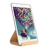 SAMDI Wooden Ipad Stand, Tablet Stand Holder, with Stable Stick Base, Compatible with iPad Air mini 2 3 4, Kindle E-reader, Cook Book, Samsung other 6-13 inch Tablet,Simple & Compact (White Birch)