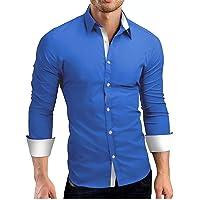 Luckycat Hombre Camisa Manga Larga Slim Fit Camisa Hombre Manga Larga Camisas Formales Negocios Camisa de Vestir Hombre…
