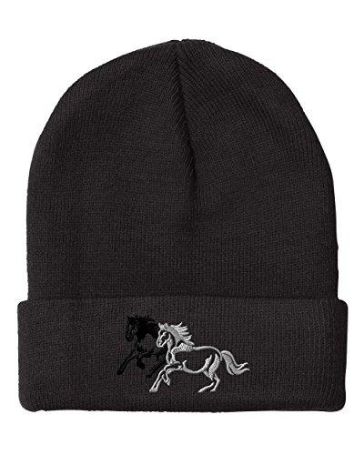 Animal Running Horses Embroidered Unisex Adult Acrylic Beanie Winter Hat - Black, One ()