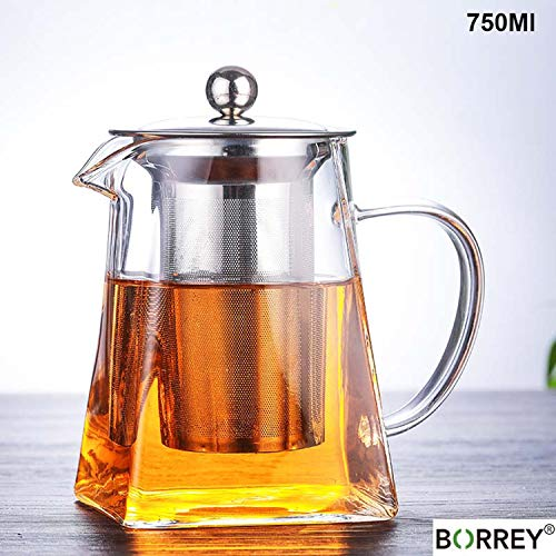CNeuaiL 500ML Borosilicate Glass Teapot Heat Resistant Square Glass Teapot with Tea Infuser Filter Flower Tea Pot,750Ml - Square Infuser Cast Iron