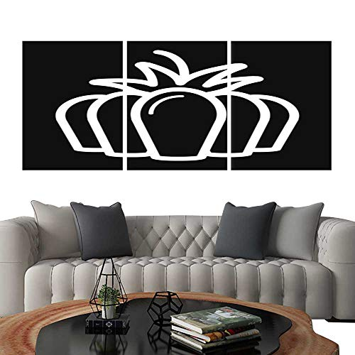 (UHOO 3 Piece Wall Art Painting Pumpkin Vector Icon Outline Illustration Isolated on Black Background Living Room Kitchen)