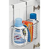 mDesign Steel Over-the-Cabinet Laundry Room Storage Basket – Silver