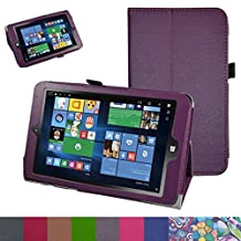 "Insignia NS-P08W7100 Case,Mama Mouth PU Leather Folio 2-folding Stand Cover with Stylus Holder for 8"" Insignia Flex NS-P08W7100 Windows 10 Tablet 2016,Purple"