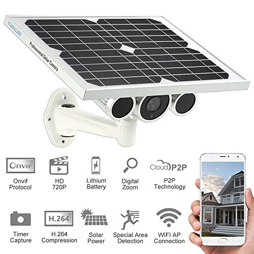 Wanscam HW0029 Outdoor Solar Power IP Camera With Battery 720P H.264 8mm Lens Waterproof WiFi Wireless Night Vision IR15m ONVIF2.1 P2P Surveillance Security Camera by KKmoon (Image #1)