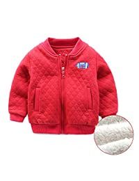 Mud Kingdom Boys Fleece Lined Bomber Jacket Embroidered Football