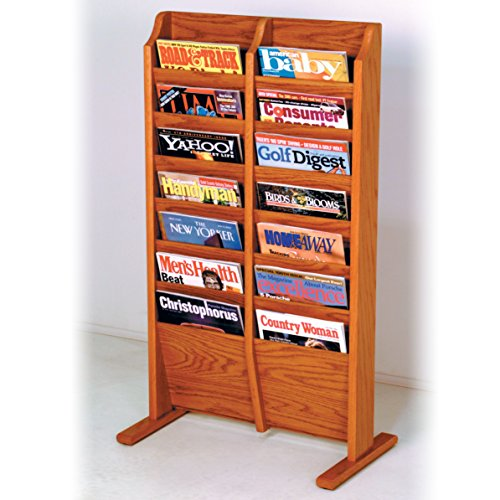 Wooden Mallet 14-Pocket Cascade Free-Standing Magazine Rack, Medium Oak