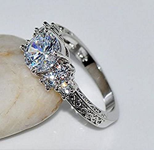 free shipping Blue Sapphire Crystal Engagement Ring10KT White Gold Filled Size 9