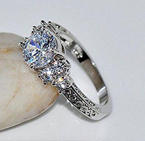Sumanee Diamond White Sapphire Wedding Ring 10KT silver Jewelry Size 6-10 (8)