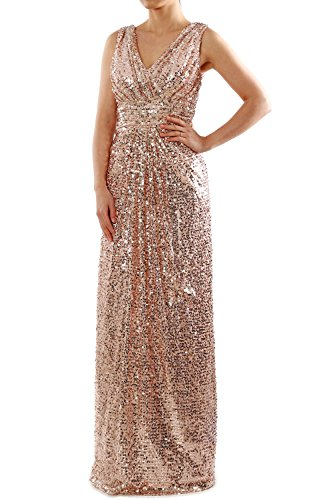 MACloth Sequin Bridesmaid Dress Straps V Neck Ruched Long Formal Evening Gown (US4, Rose Gold)