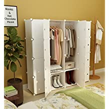 KOUSI Portable Clothes Closet Wardrobe Bedroom Armoire Dresser Cube Storage Organizer, Capacious & Customizable, White, 10 Cubes+2 Hanging Sections