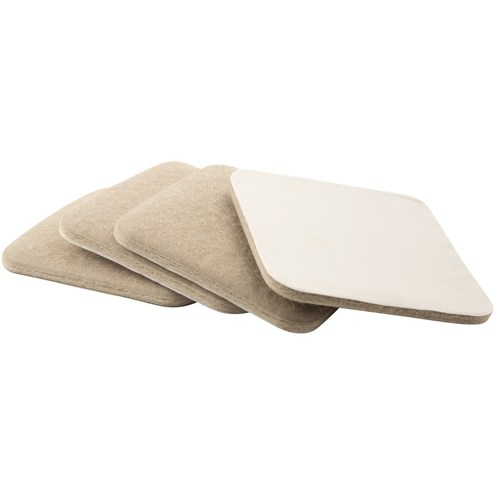 SoftTouch 4725195N Extended Wear Self Stick Square Felt Furniture Pads for Hard and Uneven Surfaces, 3-1/2 Inch, Linen, 4 Piece