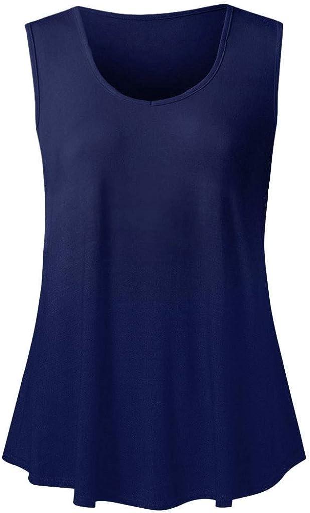 IEasⓄn Womens Sleeveless Tank Tops Loose Fit Flare Hem Tee Shirt Tunic Pullover Blouse