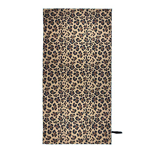 Gloden Leopard Print Sandless Beach Towel, Upgrade Microfiber Quick Dry Large Beach Towels, Lightweight Highly Absorbent Super Soft, Personalized Pattern