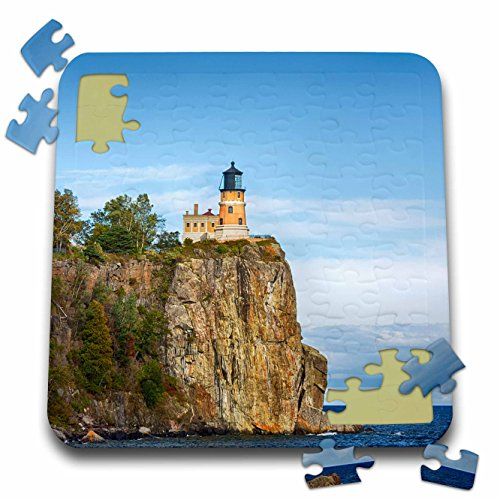 ghthouses - Minnesota, Lake Superior. Split Rock Lighthouse perched atop a cliff. - 10x10 Inch Puzzle (pzl_279143_2) ()