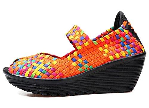 5 Working Peep Size Woven Orange Shoes Fitness Mary Color Sandal Casual Walking Women's Shoes Jane Sneaker Platform 8 GFONE 2 Wedge Toe Slip On 7Rxq5wU