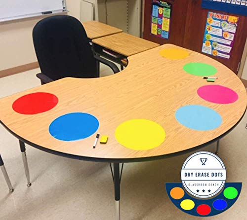 Table Dots Dry Erase Circles by Classroom Coach PET Vinyl for Easy Erasing - Set of 21 Multicolor Circles Decals for Tables or Walls! Great Teacher Classroom Supplies (21)