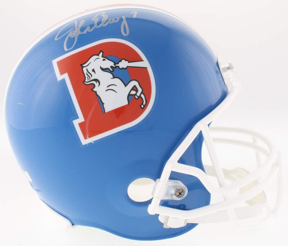 John Elway Denver Broncos Signed Autograph Thowback Full Size Helmet Elway Hologram JSA Certified