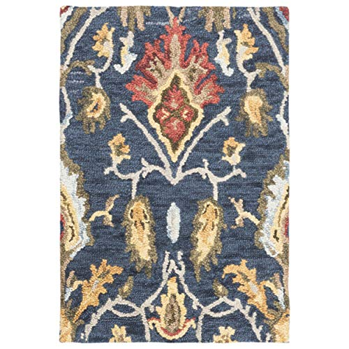 (Safavieh Blossom Collection BLM402A Handmade Navy and Multi Premium Wool Area Rug (5' x 8'))